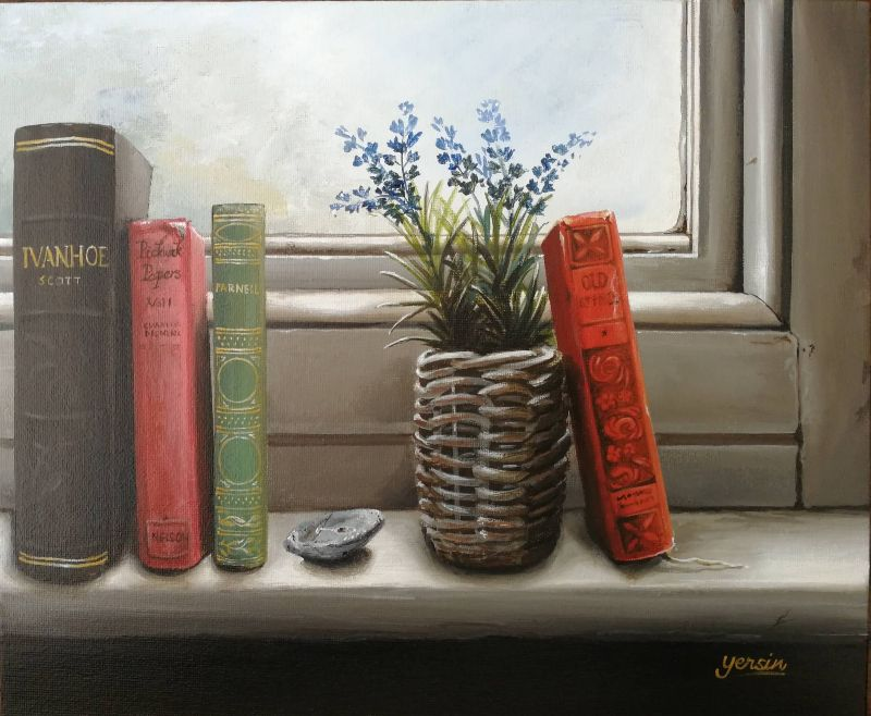 sunny window sill with books and plant